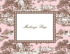 Pink & Brown Toile Folded Notes