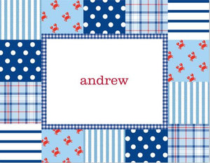 Patchwork Blue Foldover Note