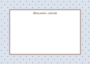 Brown Dot with Blue Flat Notecard