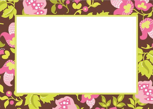 Floral Brown Flat Notecard