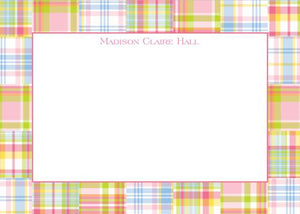 Madras Patch Pink Flat Notecard