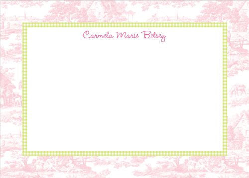 Toile Pink with Lime Check Flat Notecard