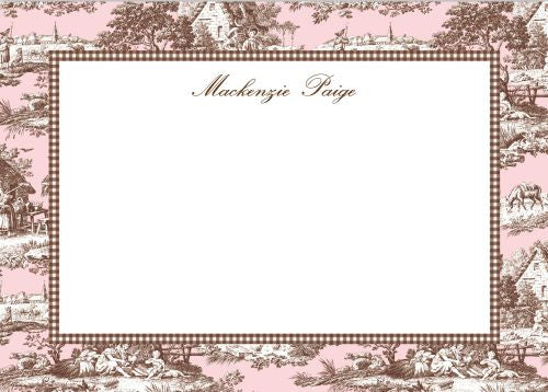 Toile Pink and Brown Flat Notecard