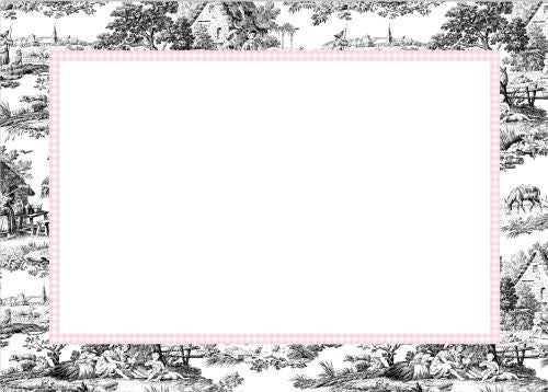 Toile Black with Pink Check  Flat Notecard