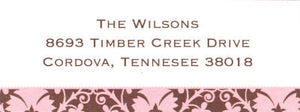 Pink and Brown Damask Address Label