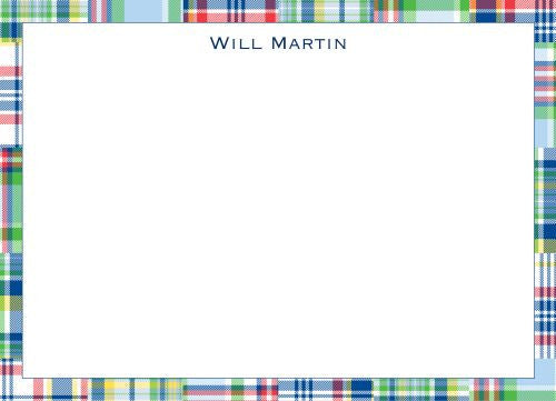 Madras Patch Blue Flat Notecard