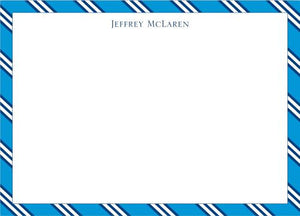 Repp Tie Blue and Navy Flat Notecard