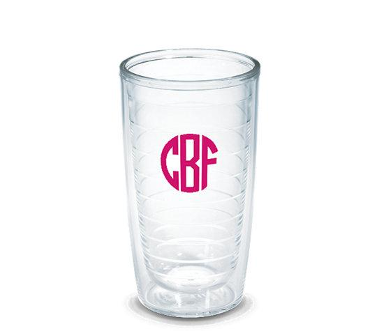 Monogrammed 16oz Tervis Tumblers (Clear)