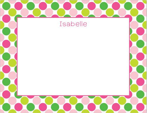 Big Dots Pink and Green Flat Notecard