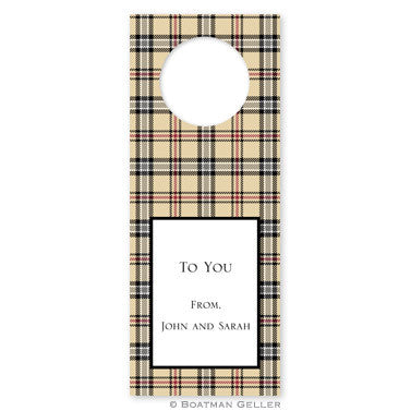 Town Plaid Wine Tags