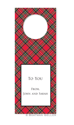 Plaid Red Wine Tags