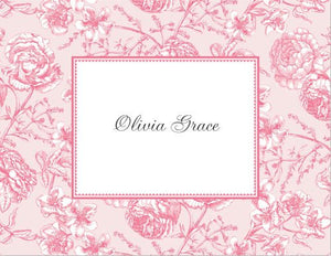 Floral Toile Pink Foldover Note
