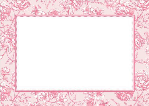Floral Toile Pink Flat Notecard