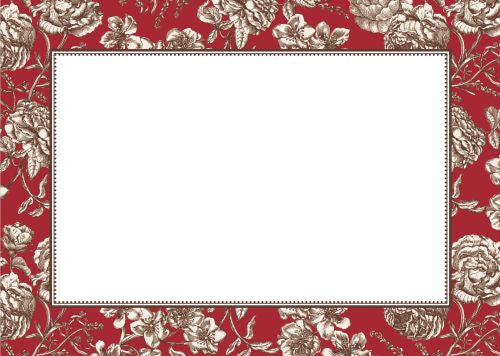 Floral Toile Red Flat Notecard