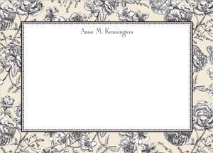 Floral Toile Cream Flat Notecard