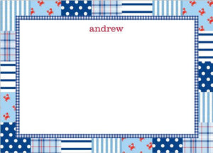 Patchwork Blue Flat Notecard