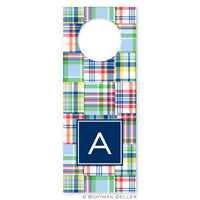 Madras Patch Blue Wine Tags