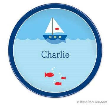 Personalized Melamine Sailboat Plate
