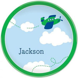 Personalized Melamine Airplane Plate