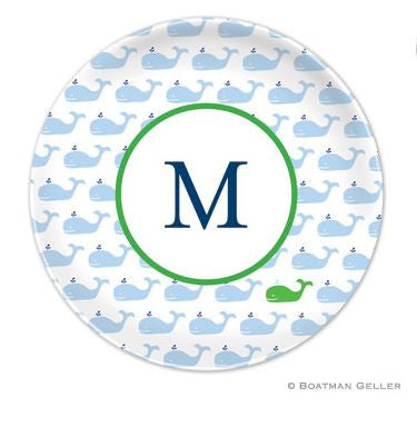 Whale Repeat Blue Melamine Plate