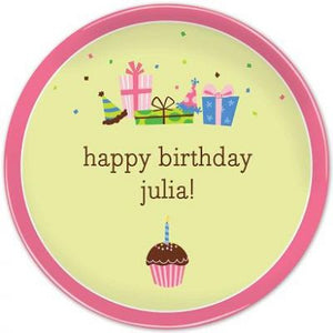 Personalized Melamine Girl Birthday Cupcake Plate