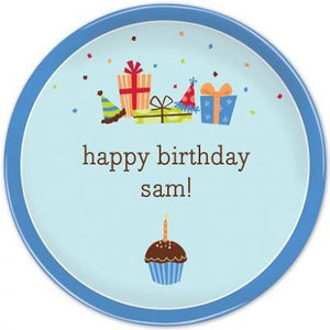Personalized Melamine Boy Birthday Cupcake Plate