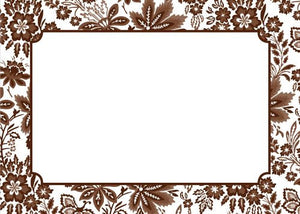 Classic Floral Brown Flat Notecard