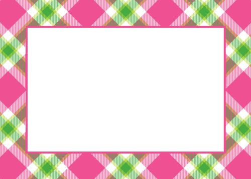 Ashley Plaid Pink Flat Notecard