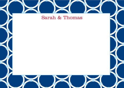 Bamboo Rings Navy Flat Notecard