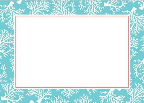 Coral Repeat Teal Flat Notecard