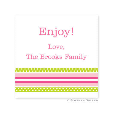 Grosgrain Ribbon Pink & Green Stickers