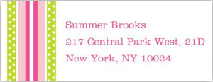 Grosgrain Ribbon Pink and Green Address Label
