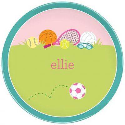 Personalized Melamine Sports Girl Plate