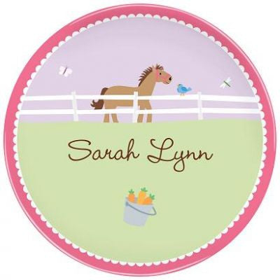 Personalized Melamine Horse Plate