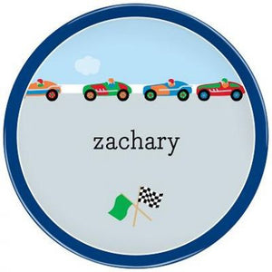 Personalized Melamine Race Cars Plate