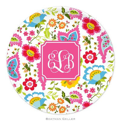 Bright Floral Melamine Plate