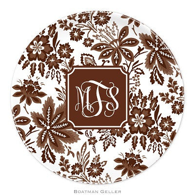 Classic Floral Brown Melamine Plate