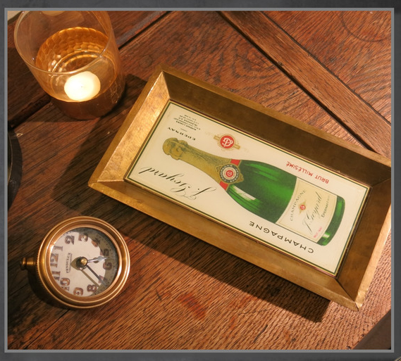 Champagne Bottle Copper Accent Tray