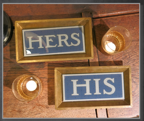 His/Hers Antique Copper Accent Tray