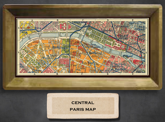 Central Paris Map Copper Accent Tray