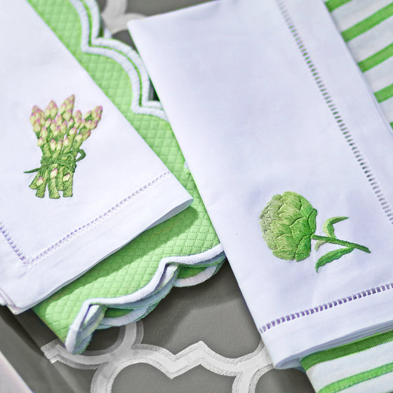 Embroidered Asparagus White Hemstitch Napkin S/4