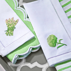 Embroidered Vegetable White Hemstitch Napkin S/4