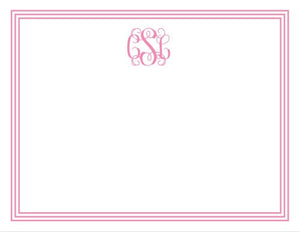 Grand Border Pink Flat Notecard