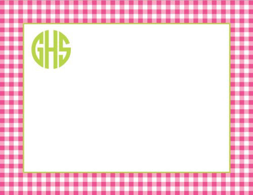 Gingham Raspberry Flat Notecard