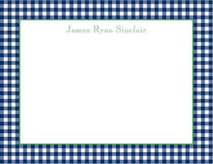 Gingham Navy Flat Notecard