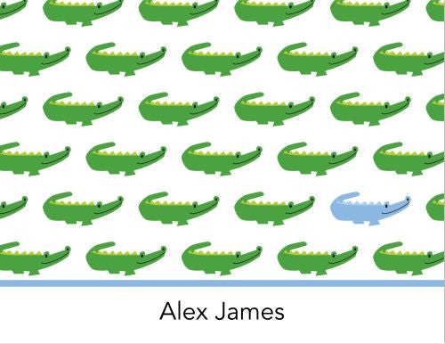 Alligator Repeat Blue Foldover Note