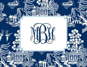 Chinoiserie Navy Foldover Note