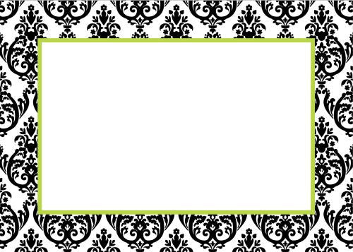 Madison Damask White with Black Flat Notecard