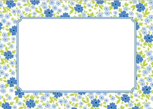Emma Floral Periwinkle Flat Notecard