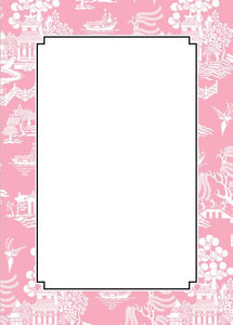 Chinoiserie Pink Flat Notecard